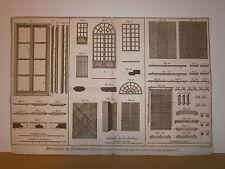 Deux Planches gravures 18° Benard Direxit  Charpentier menuisier porte cochére