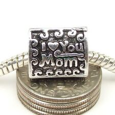 Antique Silver Plated I Love You Mom Heart Mother Charm fits European Bracelet