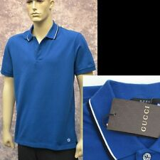 GUCCI New sz XXL - 2XL Cotton Mens Designer Authentic GG Logo Blue Polo Shirt