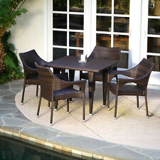 Outdoor Patio Furniture Elegant 5pcs Brown All-weather Wicker Dining Set