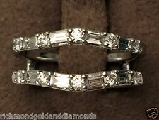 14k White Gold VS2 G Round Baguette Diamonds Ring Guard Wrap Solitaire Enhancer