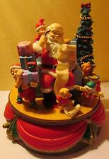 """'Santa's Best' Animated 8"""" Music Box, 1993 - Santa Claus is Coming to Town"""