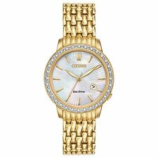 Citizen Eco-Drive Women's EW2282-52D Diamond Bezel Yellow Gold 29mm Dress Watch
