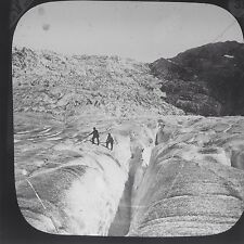Magic Lantern Slide Mountaineering Climbing Switzerland Alps Swiss History