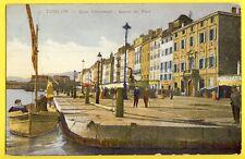 cpa Imprimerie Provençale TOULON (Var) QUAI CRONSTADT CARRÉ du PORT Barque Marin