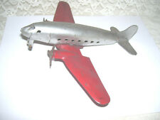 ANTIQUE TOY METAL PASSENGER AIRPLANE SILVER W/ RED WINGS 1940 'S / 50 'S