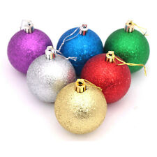 Lot 6X 3.2 in. Large Christmas Tree Baubles Multi Color Glitter Decoration Balls