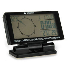 Auto Digital Compass Clock Time Date In/Out Thermometer Monitor Black