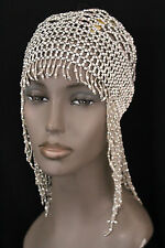 Women Head Hair Piece Fashion Silver Beads Hat Elastic Long Fringes Accessories