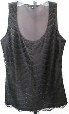 BANANA REPUBLIC Black Sleeveless 100% Silk Top With Lace Front Design Size XS