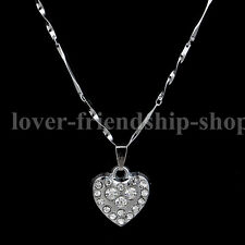 Heart 925 Silver Chain Crystal Pendant Necklace Jewelry Gift For Girl X'mas GIft