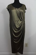 Torrid Metallic Gold Ruched Evening Cocktail Maxi Dress Womens Plus 2X 18 20