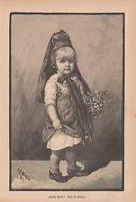 """""""Grüss Gott"""" kleines Mädchen Tracht Blumenstrauss HOLZSTICH von 1887 Genrebild"""