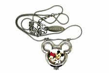 BRACCIALE DISNEY LOCKET MICKEY & MINNIE MOUSE SILVER NECKLACE W FLOATING CHARMS