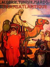 ALGERIA TUNISIA MOROCCO CAMEL ARAB TRAVEL TOURISM LARGE VINTAGE POSTER REPRO