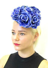 Large Blue Rose Flower Fascinator Headpiece Races Unique Vintage Floral Hat X08