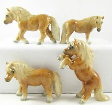 Horse Miniature Figurine Porcelain - Hand Painted Set of 4 Chestnut Ponies