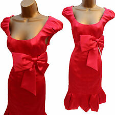 KAREN MILLEN DE037 RED DUCHESS SATIN GALAXY BARDOT BOW BUBBLE WIGGLE DRESS 10