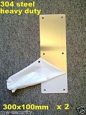 2 x 304 STAINLESS STEEL Door Push Plate 300x100mm + Screws RiteFit