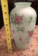 Hand Painted Pink Rose Buds Design Green Mint Vase Glass