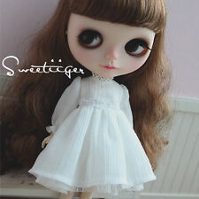 "【Tii】white dress outfit 12"" 1/6 doll Blythe/Pullip/azone Clothes Handmade girl"