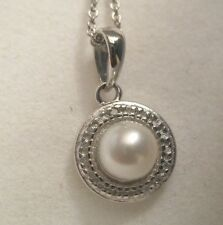 925 STERLING SILVER WHITE FW CULTURED PEARL & DIAMOND PENDANT W/ CHAIN ~ 6 MM