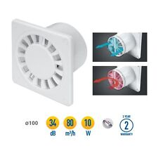 "Bathroom Extractor Fan 100mm / 4"" with Non Return Valve White Ventilator WWD100"