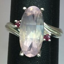 Natural Rose Quartz & Ruby Silver Ring. FREE SIZING, USA SELLER