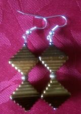 Acrylic pyramid earrings, gold, silver plated, tibetan  bead, unusual (129)