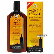 Agadir Argan Oil Daily Moisturizing Shampoo 12.4 Oz + Spray Treatment 5.1 Oz