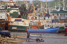 ORIGINAL OIL PAINTING, BOATS IRISH HARBOR TOWN IRELAND, NAUTICAL ART, Listed NR!