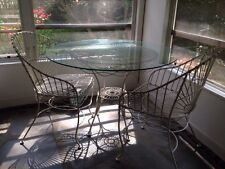 Anthropologie Cream Iron Outdoor / Indoor Table And Two Chairs