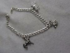 SU ITALY 925 STERLING DOUBLE LINK CHAIN BRACELET W/ UNICORN & 2 HORSE CHARMS