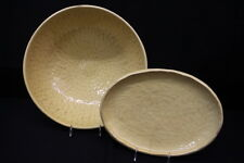 """2pc Noemi Ceramiche Handcrafted YELLOW Dimpled 15.5"""" Bowl & Platter, Umbra Italy"""