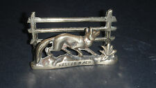 VINTAGE BRASS FOX BY A FENCE LETTER RACK DESK TIDY