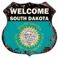 BP-0076 WELCOME SOUTH DAKOTA State Flag Shield Chic Sign Bar Shop Home Decor