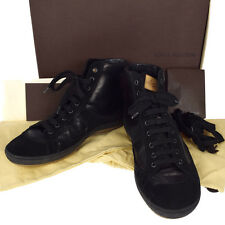 Authentic LOUIS VUITTON Men's Shoes Sneakers Leather #6 1/2 Black Italy 33K359