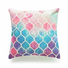 Decorative Pillow Case Rainbow Pastel Watercolor Moroccan Sofa Cushion Cover 18""