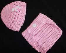Handmade Crochet Baby  Hat, & Diaper Cover Set  Newborn 3 Months