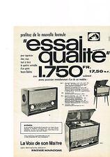 PUBLICITE   1959   LA VOIX de SON MAITRE   PATHE MARCONI     stéréo radio