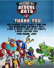 Rescue Bots Transformers Birthday Party Thank You Note Cards Personalized Custom