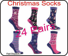 Xmas Christmas Gift 24 Pairs Ladies Women Socks Wholesale Job Lot Clearance