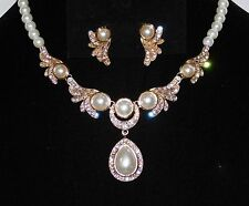 Wedding Bridal Gold W. Ivory Pearl & Rhinestone Necklace Earrings Set