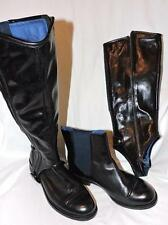 JUICY COUTURE BLACK CARLTON REMOVABLE SHAFT LEATHER HIGH BOOTS ANKLE BOOTIES