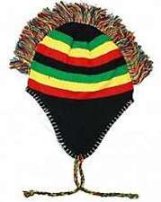 Rasta Colors Red Yellow Green Mohawk Aviator Sherpa Alpine Winter Knit Cap