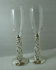 Wedding Bridal Champagne Toasting Glasses Flutes Silver Vine Hearts Stems