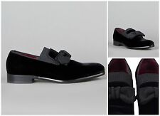 DOLCE GABBANA BLACK SUEDE VELVET BOW MOCCASINS SLIPPERS SHOES. UK 10½  - EUR 44½