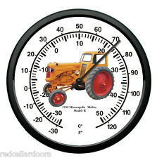 """New MINNEAPOLIS MOLINE Thermometer 10"""" Round Vintage 1938 Model R Farmer Tractor"""