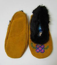 GENUINE NATIVE AMERICAN MOCCASINS, 9 INCHES WITH FUR TRIM AND BEADWORK DESIGN