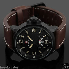Men Luxury Army Date Sport Leather Wrist Watch Waterproof Analog Quartz Watches